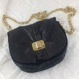 Juicy Couture Ruffled Black Leather Crossbody